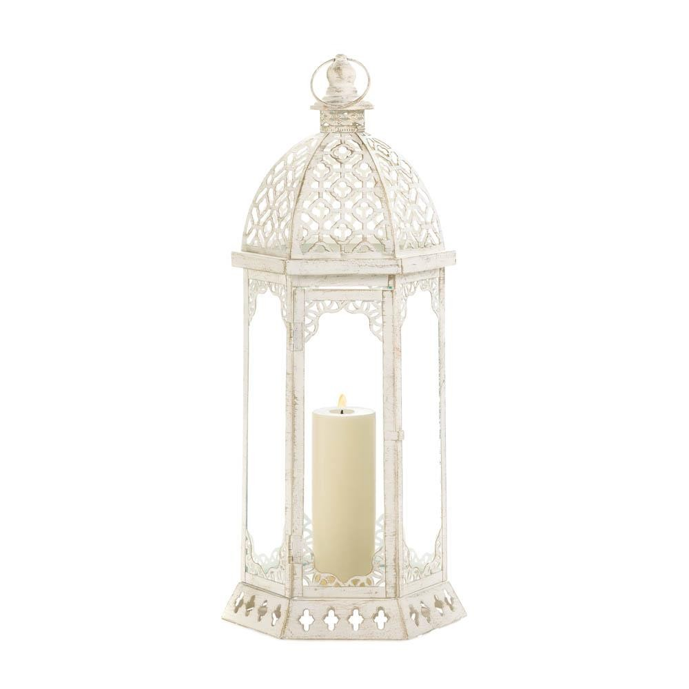 Distressed Home Decor: Graceful Distressed White Large Lantern