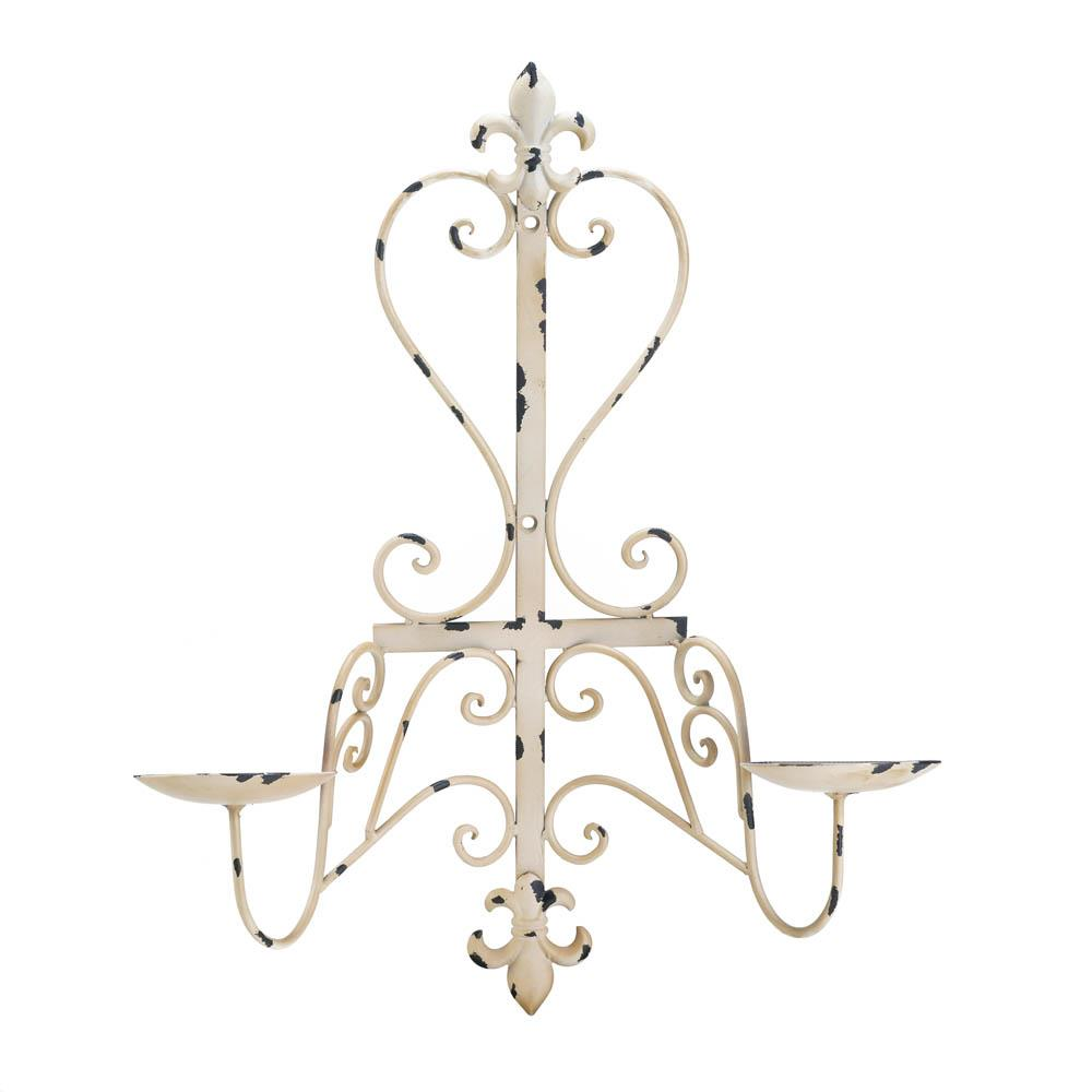 Antiqued Fleur De Lis Candle Sconce Sku 10017974 Home