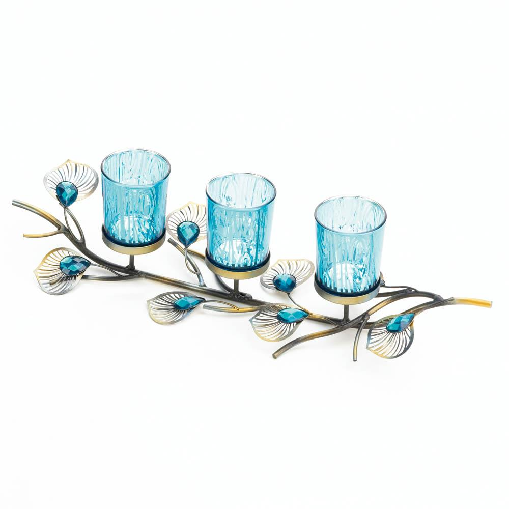 Peacock inspired candle trio sku 10018046 home decor - Peacock home decor wholesale photos ...