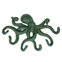Large Cast Iron Seaworn Blue Octopus Hook