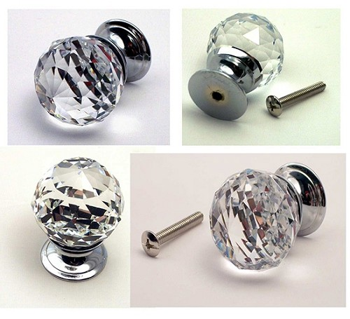 Large Rounded Crystal Glass Drawer Pull Clear