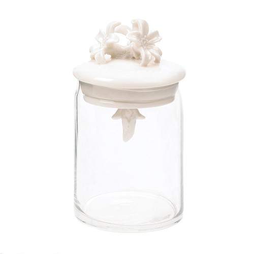 Porcelain Flowers Adorning Glass Jar