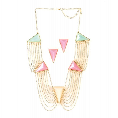 Triangle Stone Necklace And Earrings Jewelry Set