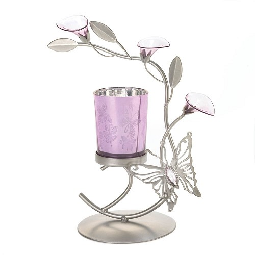 Pink Butterfly Candleholder