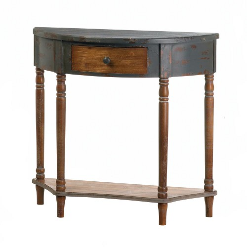 Wood Half-Moon Hall Table