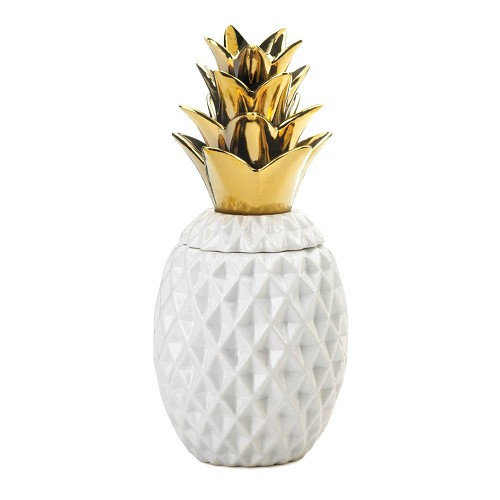 13 inch Gold Topped Pineapple Jar