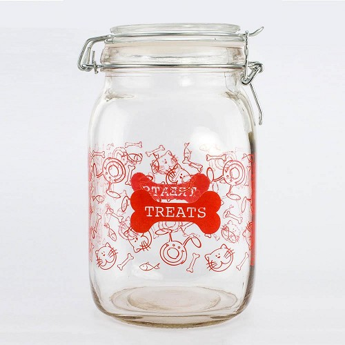52 Oz Clear Glass Pet Treat Canister